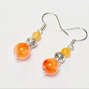 Itty Bitty Teeny Weeny Orange Calcite Earrings